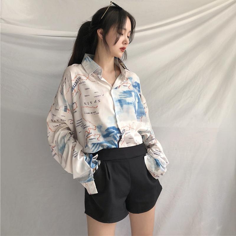 【tops】プリント配色ファッションシャツ22687420