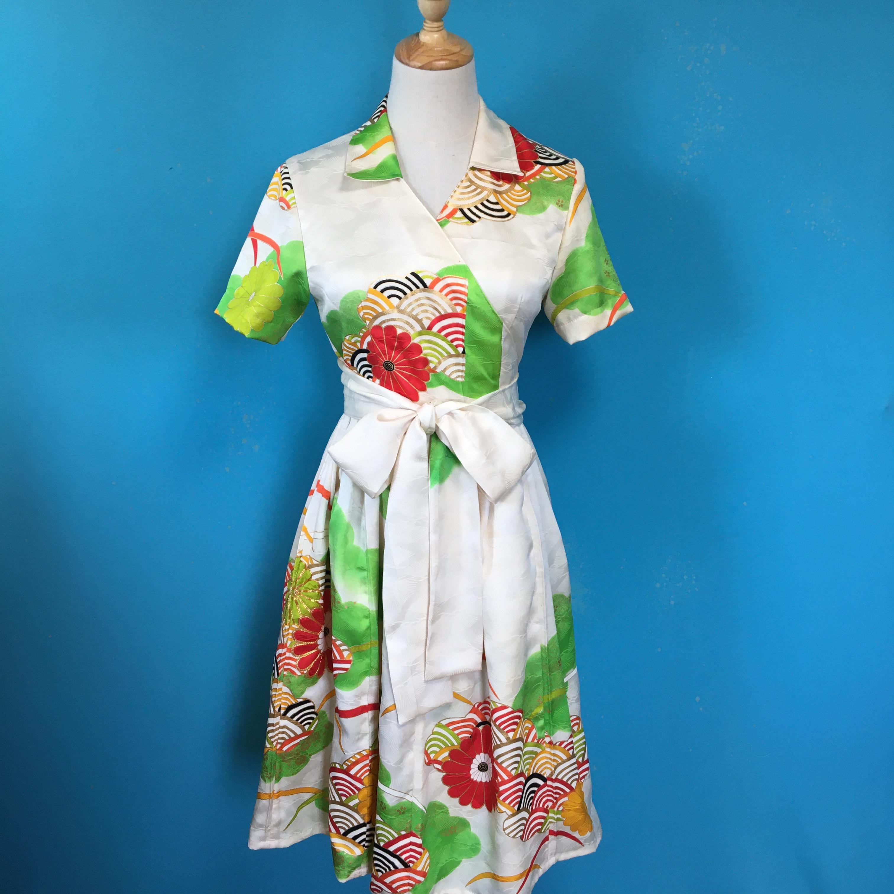 振袖 Vintage kimono wrap dress/ US 6