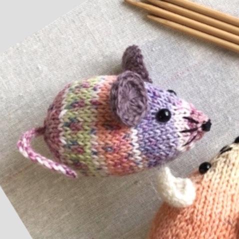 <編み図> 棒針編み・ネズミのあみぐるみ