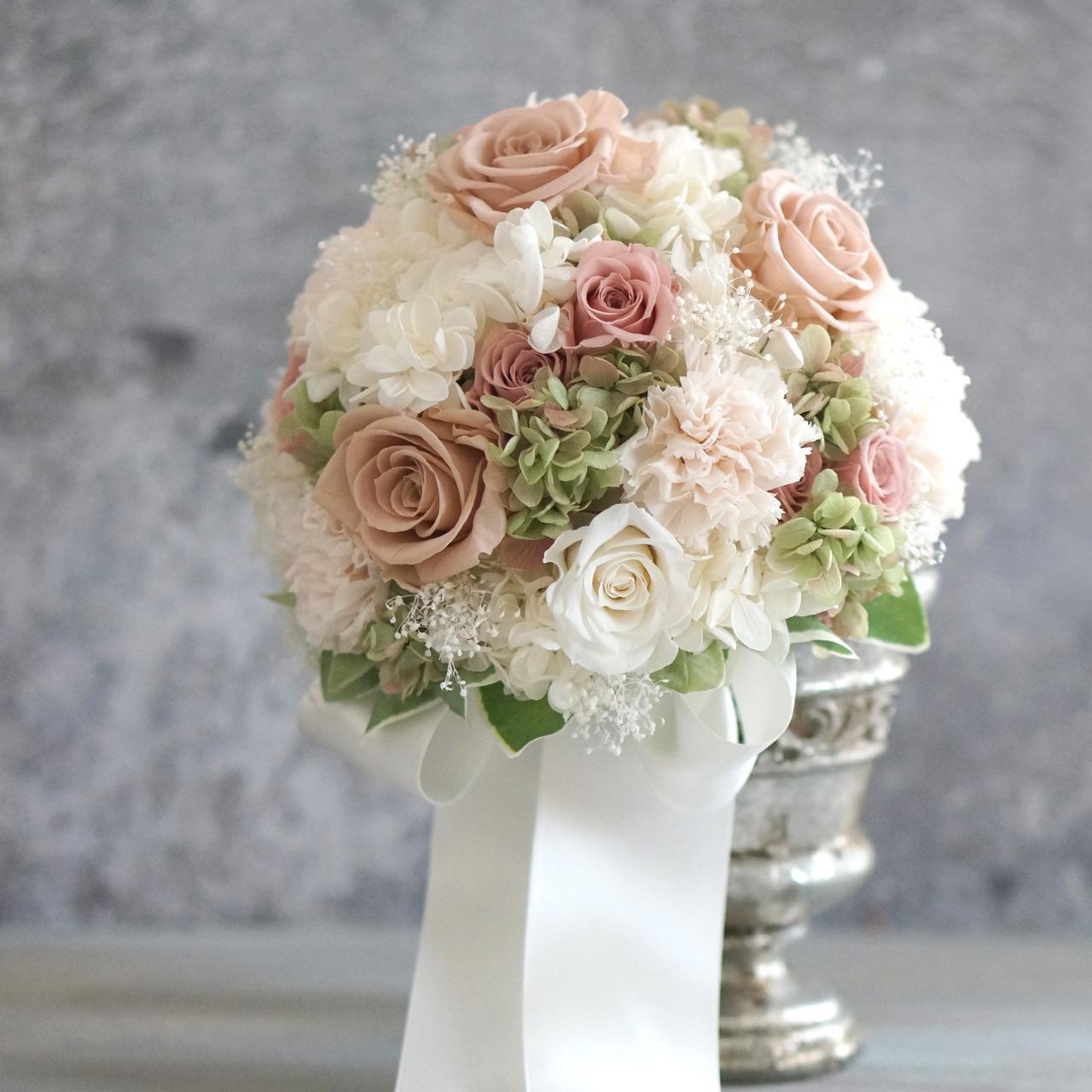【3点セット】白とヌードピンク20cmウェディングブーケ+ブトニア+花冠