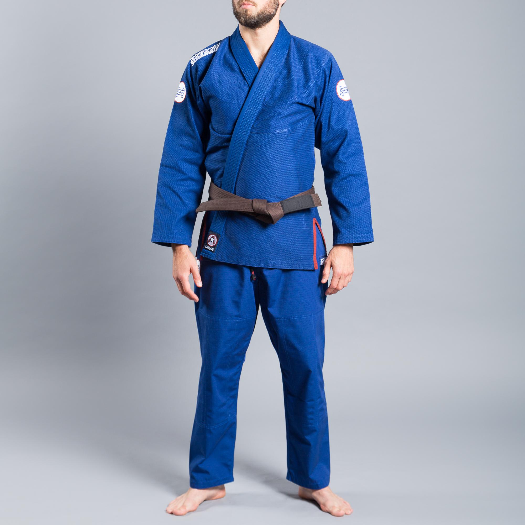 送料無料 ウルトラライトモデル SCRAMBLE ATHLITE KIMONO ブルー|ブラジリアン柔術衣
