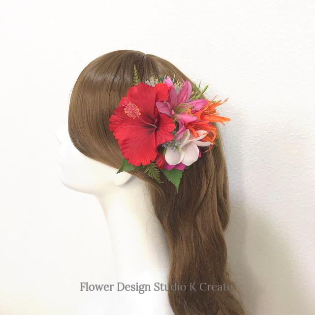 赤いハイビスカスとプルメリアのヘアクリップ 髪飾り トロピカル フラガール 南国 ダンス フラ フラダンス