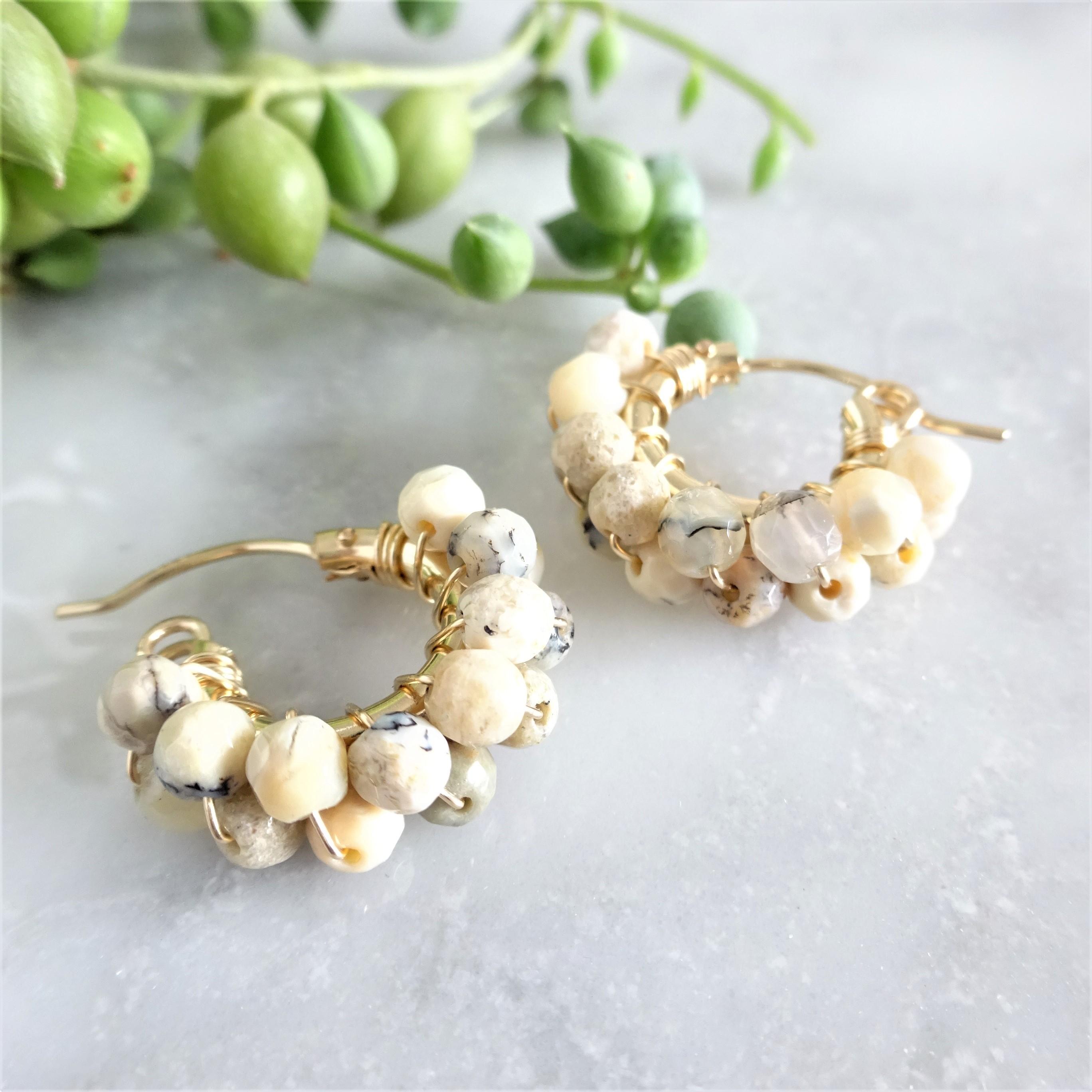送料無料 14kgf*African Opal wrapped pierced earring / earring