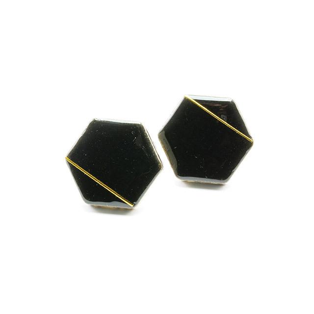 伝統工芸品 美濃焼 六角形 ブラック 光芒 ピアス&イヤリング