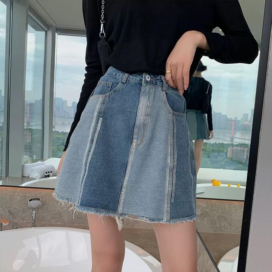 denim color different skirt