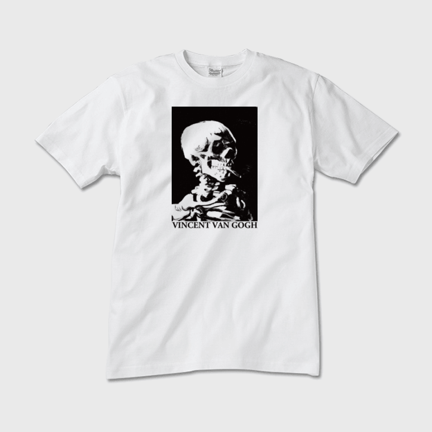 ゴッホ「火のついた煙草をくわえた骸骨」 Tシャツ