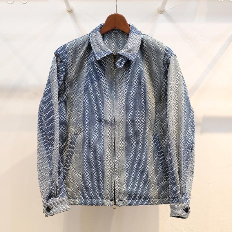 KUON(クオン) 遠州カツオ縞刺し子 ドリズラージャケット