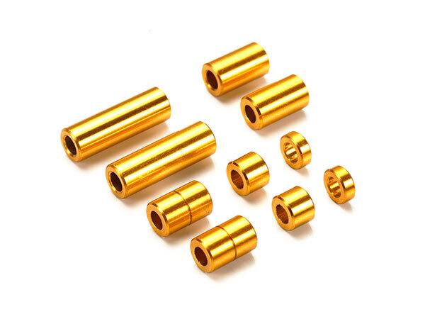 アルミスペーサーセット(12/6.7/6/3/1.5mm)各2個 (ゴールド)