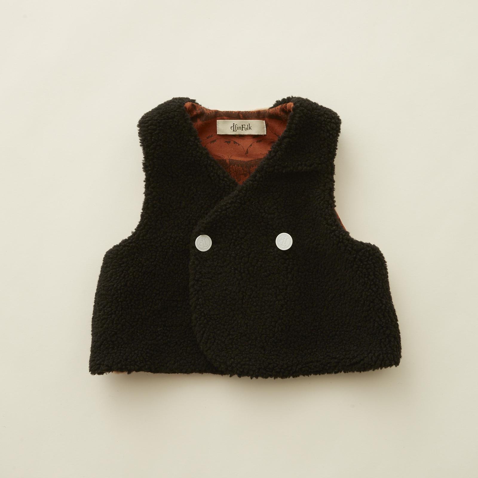 《eLfinFolk 2020AW》sheep boa  baby vest / black