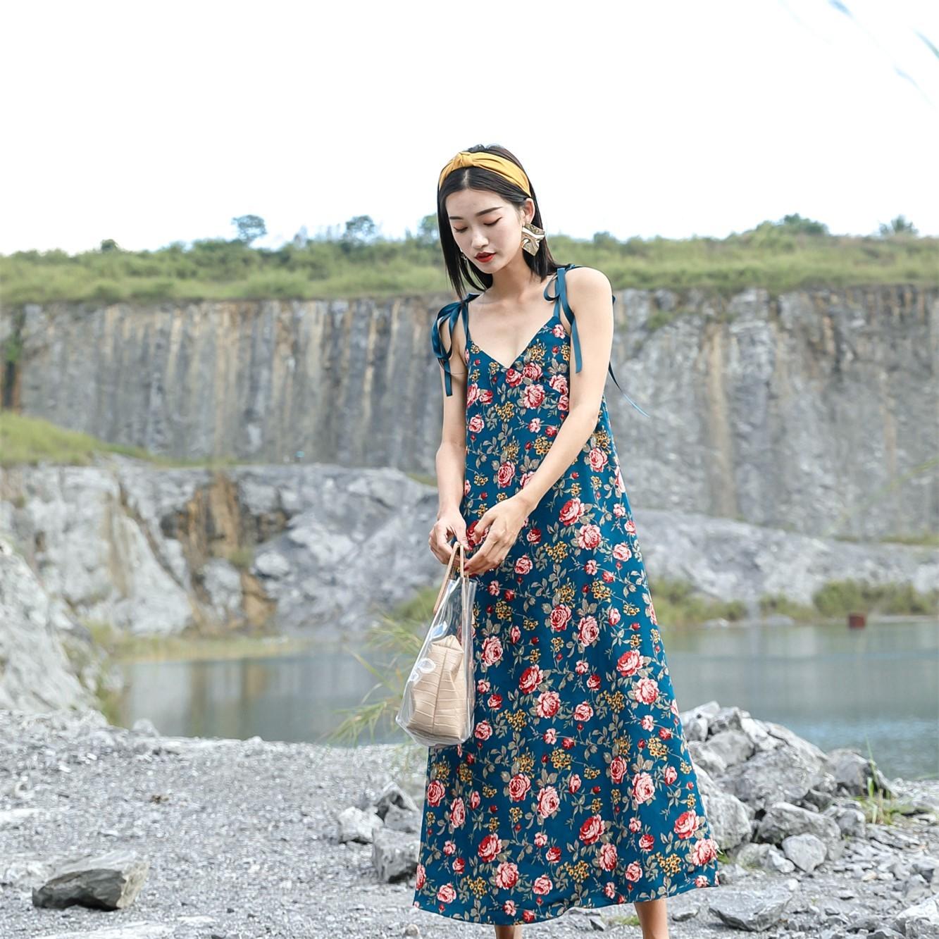 ff308224dbf0a 大きいサイズ キャミワンピ ロング サマードレス 花柄 Vネック バッククロス マキシ丈ワンピース