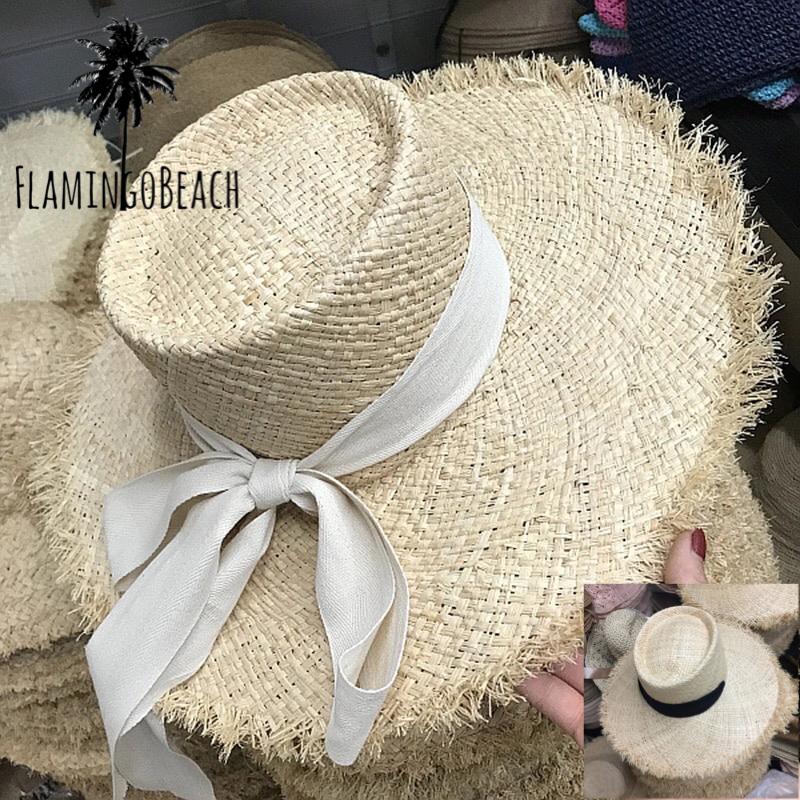 【FlamingoBeach】flat top rafia hat ラフィアハット