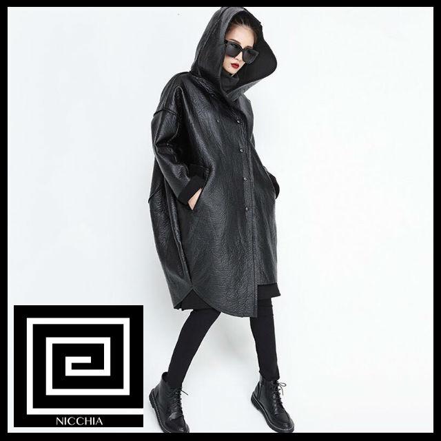 レザーオーバーサイズフードジャケット