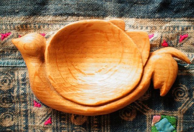 木彫り小皿(鳥)