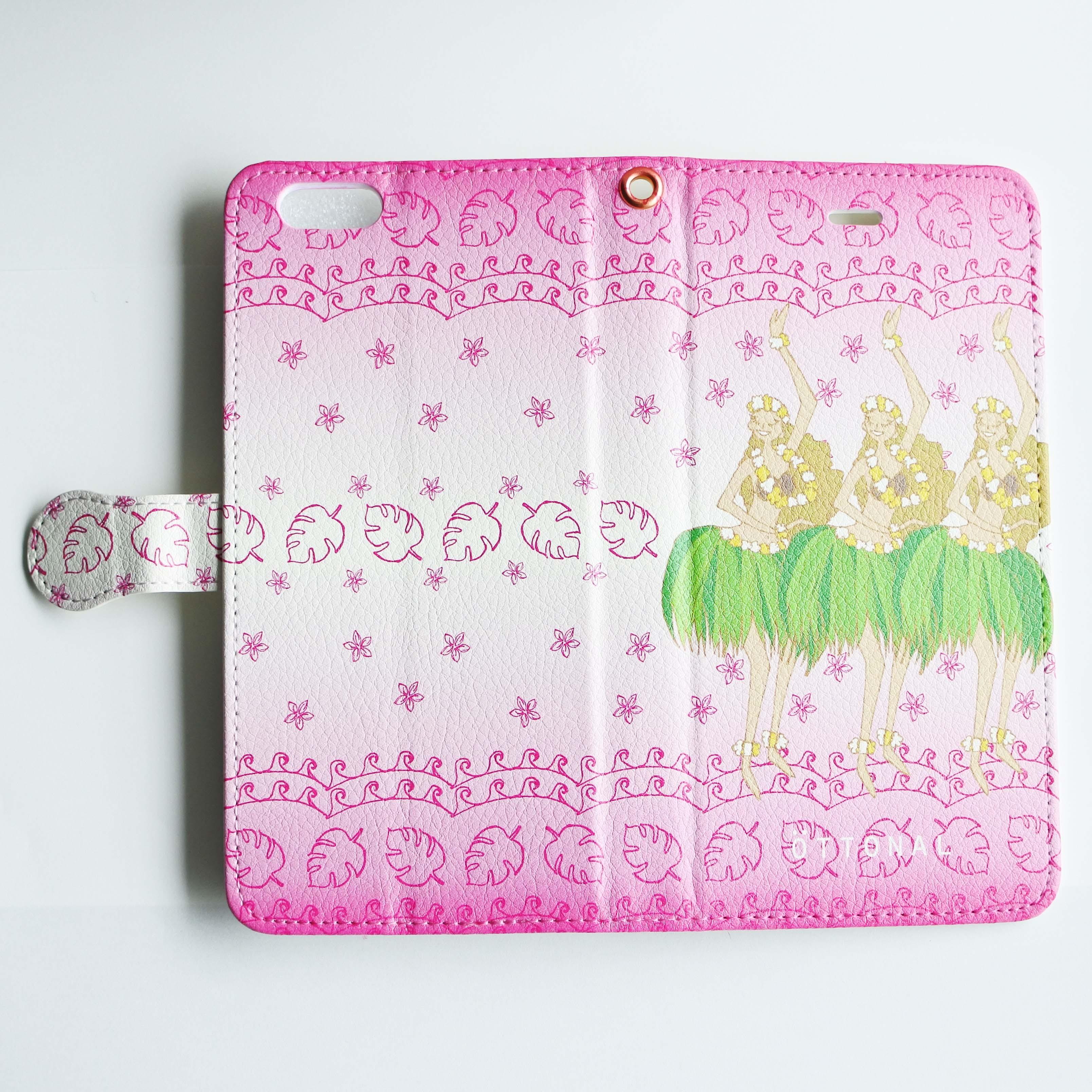 (iPhone)フラガールピンク 手帳型スマホケース - 画像2