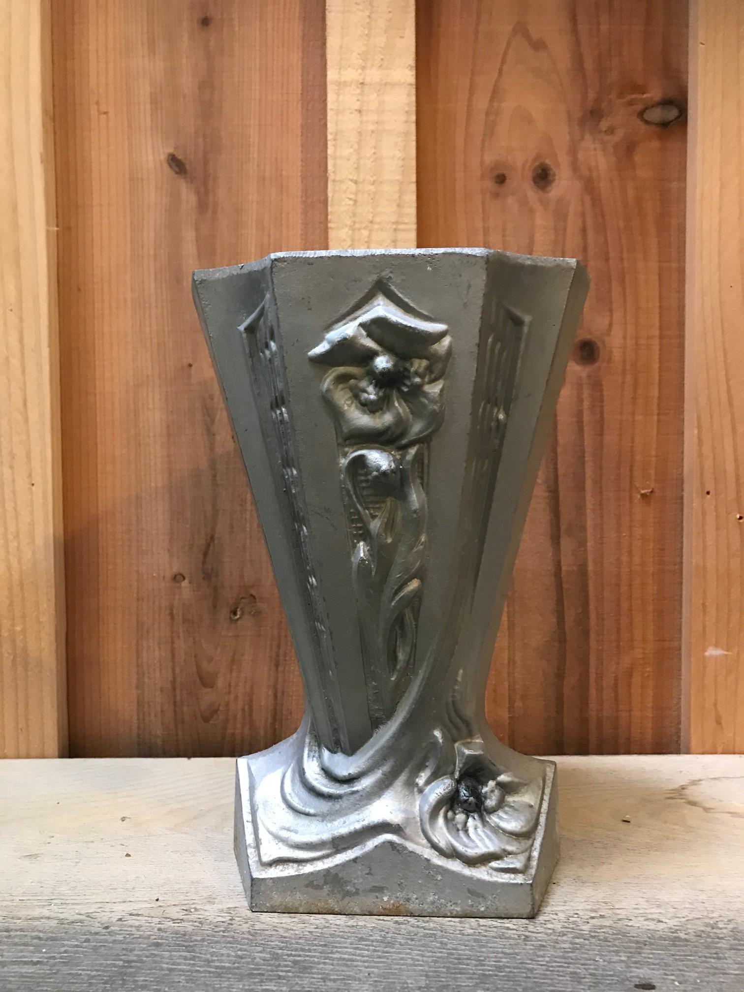 1920年代 フランスアンティーク 鉄製 花瓶 アールデコ B
