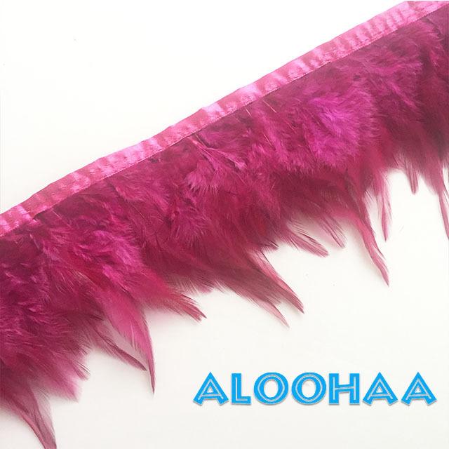 フェザーロール【ダークピンク】単色10-15cm丈 1m DIY 羽 衣装材料 タヒチアン