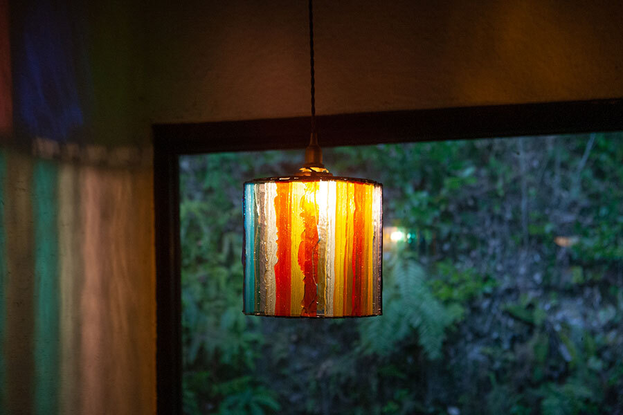 レインボー(ステンドグラスの吊りランプ)(ペンダントライト) 01010053