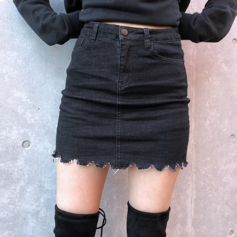 Secret black denim skirt
