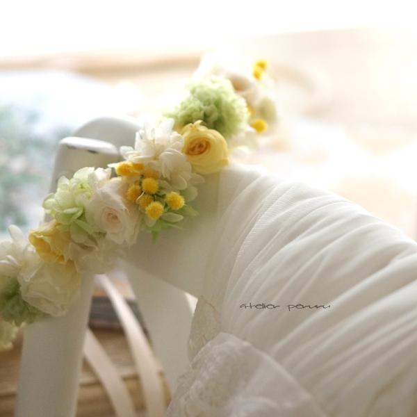 ミモザと白×グリーンの 花冠