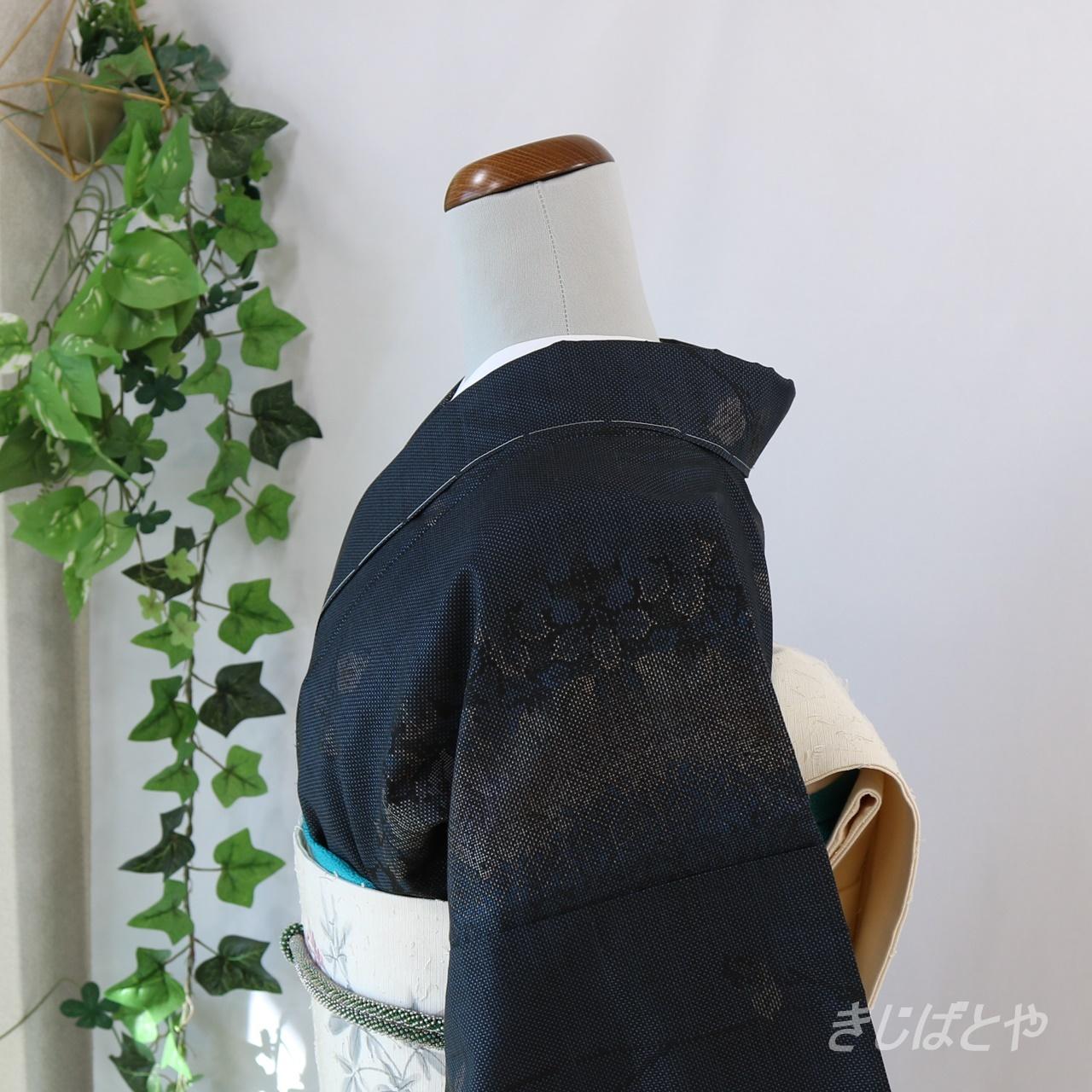 大島紬 紺藍に葉の小紋 袷