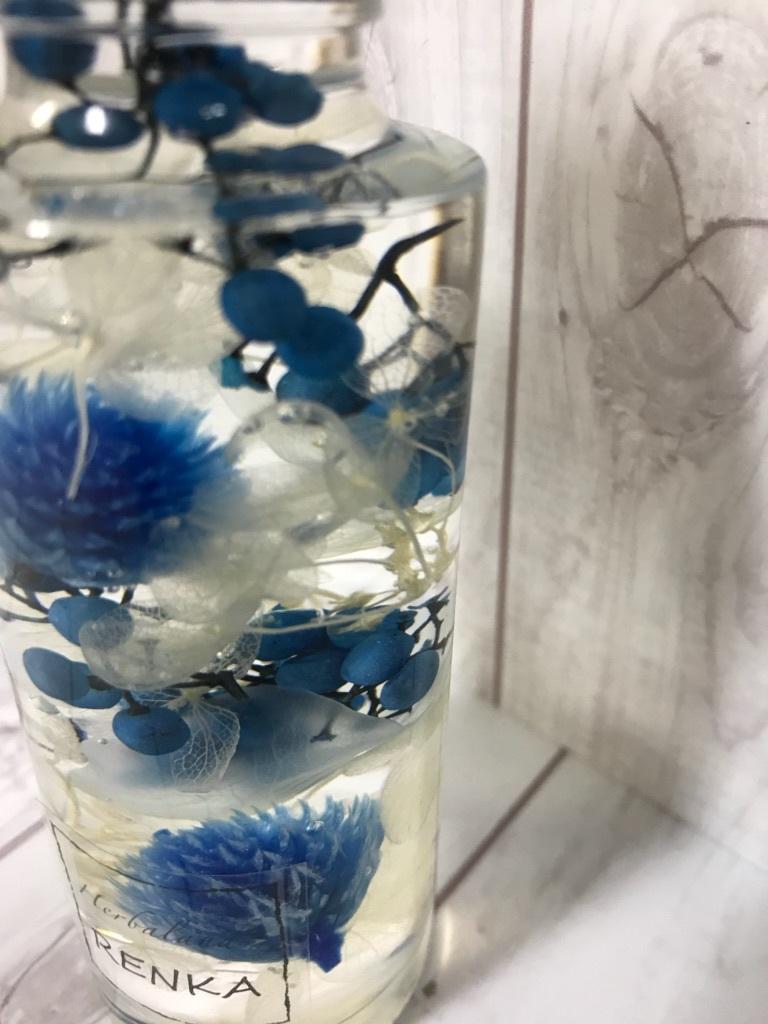 ハーバリウム*ブルー*円柱ボトル