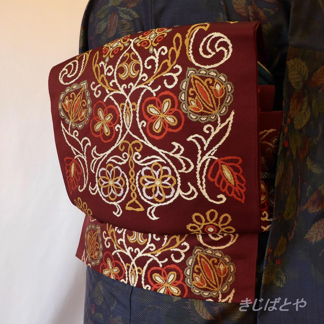 正絹 チョコ色に唐花の袋帯