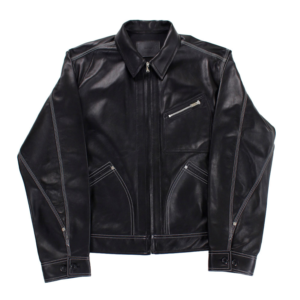 THE LETTERS Leather Jacket Black SIZE;M