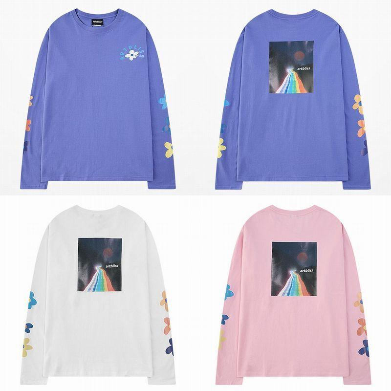 ユニセックス 長袖 Tシャツ メンズ レディース 花びら 虹の道 袖プリント バックプリント オーバーサイズ 大きいサイズ ストリート