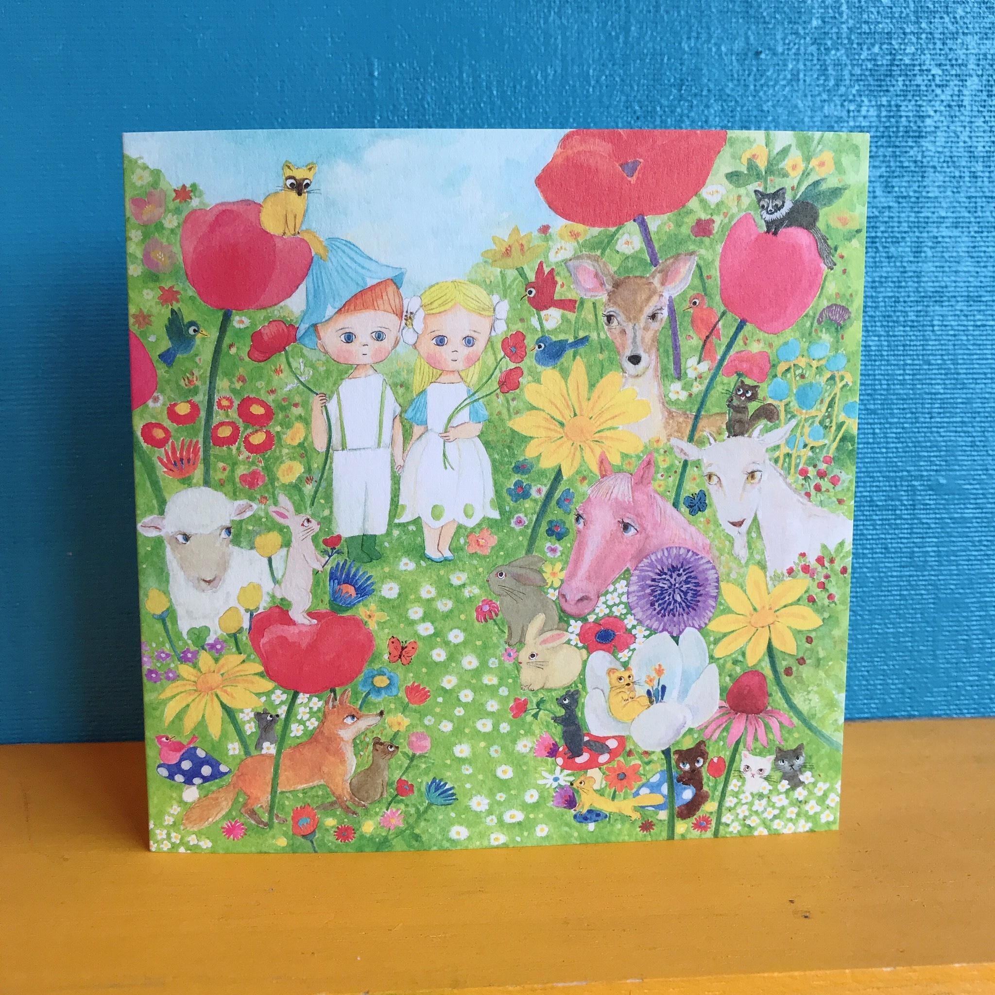 """Greetting card """"Flower garden"""""""