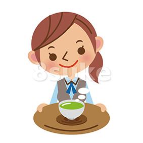 イラスト素材:お茶を出すOL・事務スタッフ(ベクター・JPG)