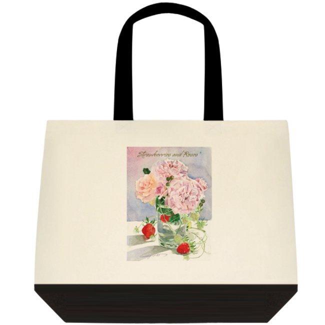 【受注生産】両面プリント「苺と薔薇」水彩トートバック