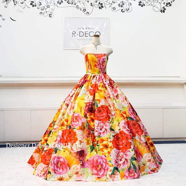 【オーダー制作】ウエディングドレス オレンジ花柄ドレス 披露宴/お色直し ※制作期間3週間から6週間