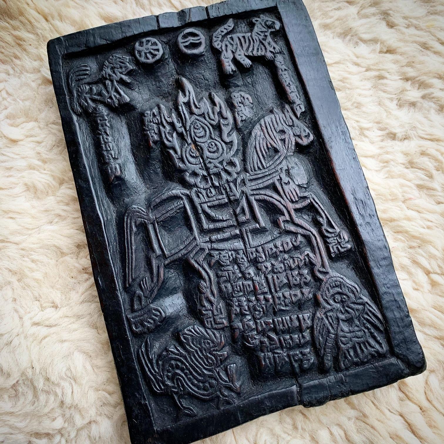 古いチベット版木 ルンタと四獣 大判