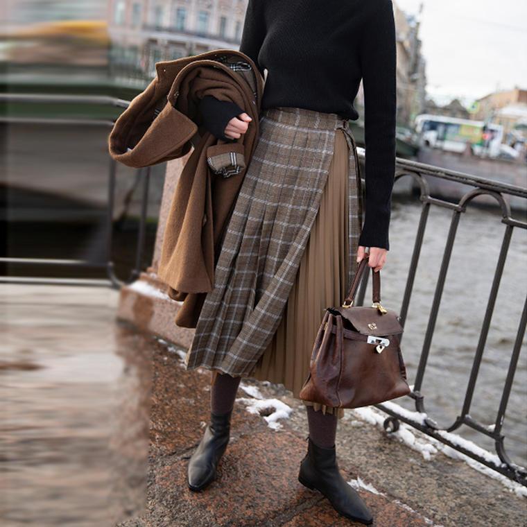 【送料無料】 大人可愛い 最旬スカート♡ アシンメトリー 重ね着風 チェック柄 プリーツ ラップ スカート ロング丈