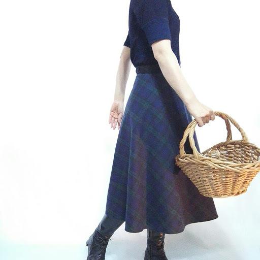 【受注制作】ミモレ丈 ブラックウォッチ巻きスカート