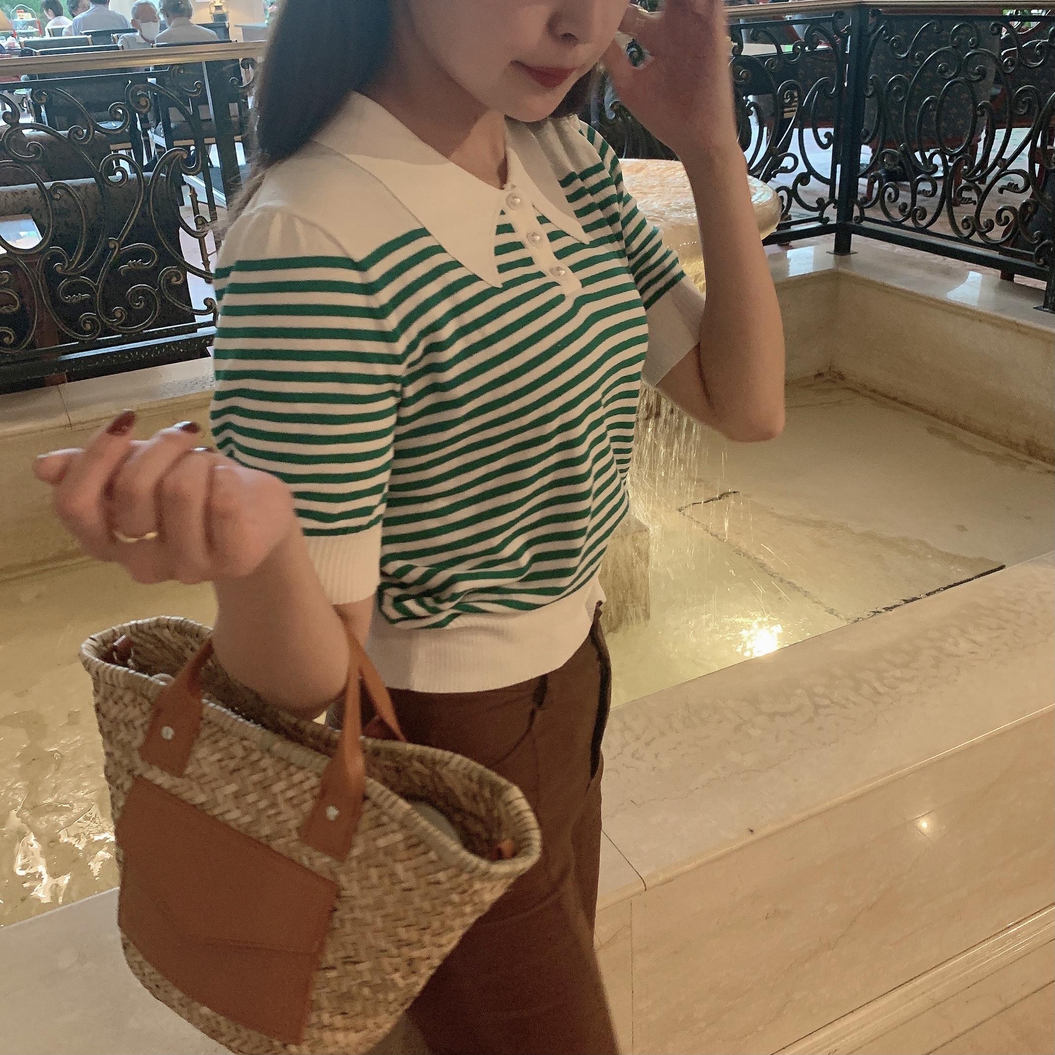 7/23【NEW】green border summer knit