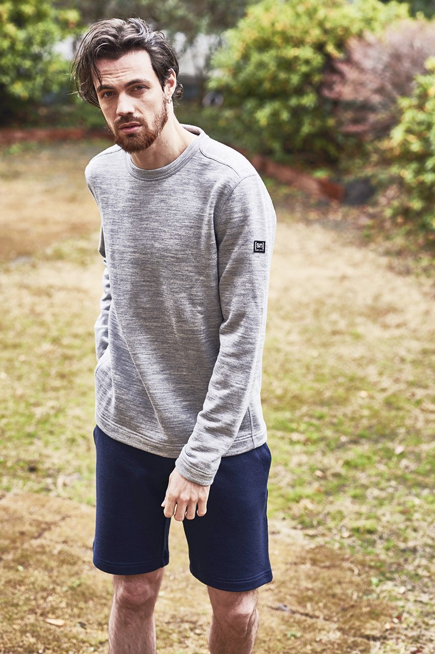 [sn] super.natural スーパーナチュラル メンズ M Knit Sweater  メンズ長袖裏毛 リラックス ラウンジトレーナー SNM013280 965/グレーメランジ