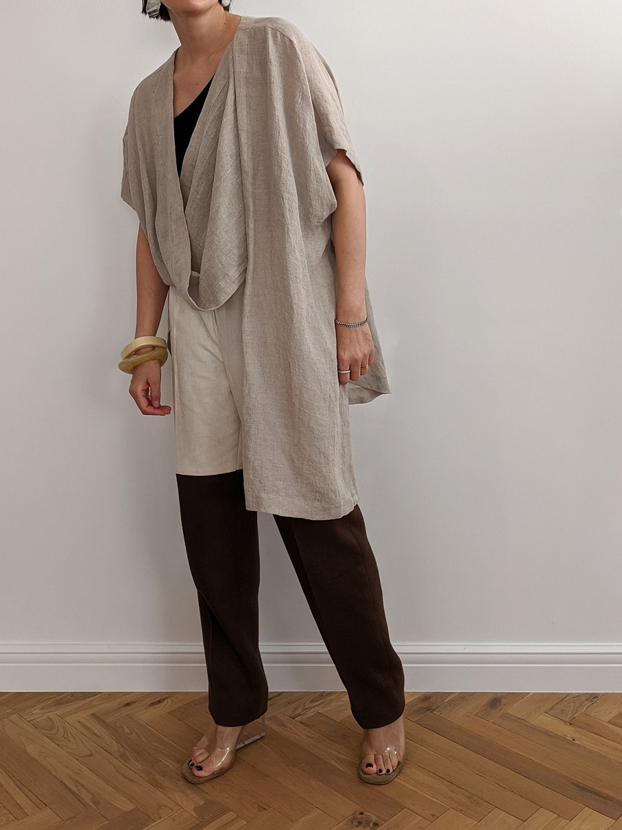 French Linen Robe - L/Beige