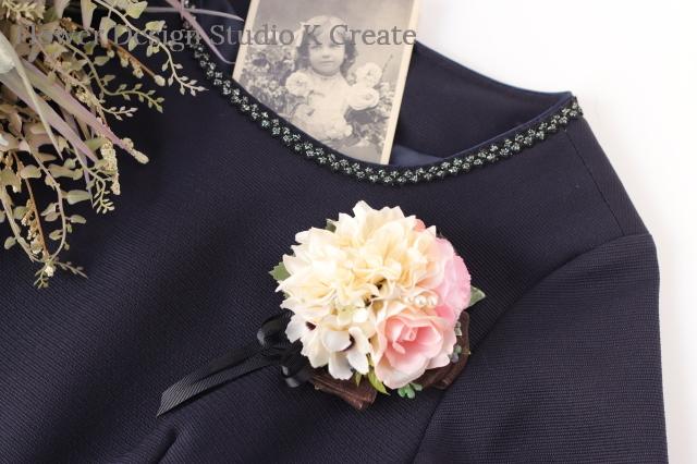 結婚式・卒業式・入学式に♡エクリュダリアと薔薇のコサージュ(ヘッドドレス可) コサージュ ヘアクリップ パーティー フォーマル