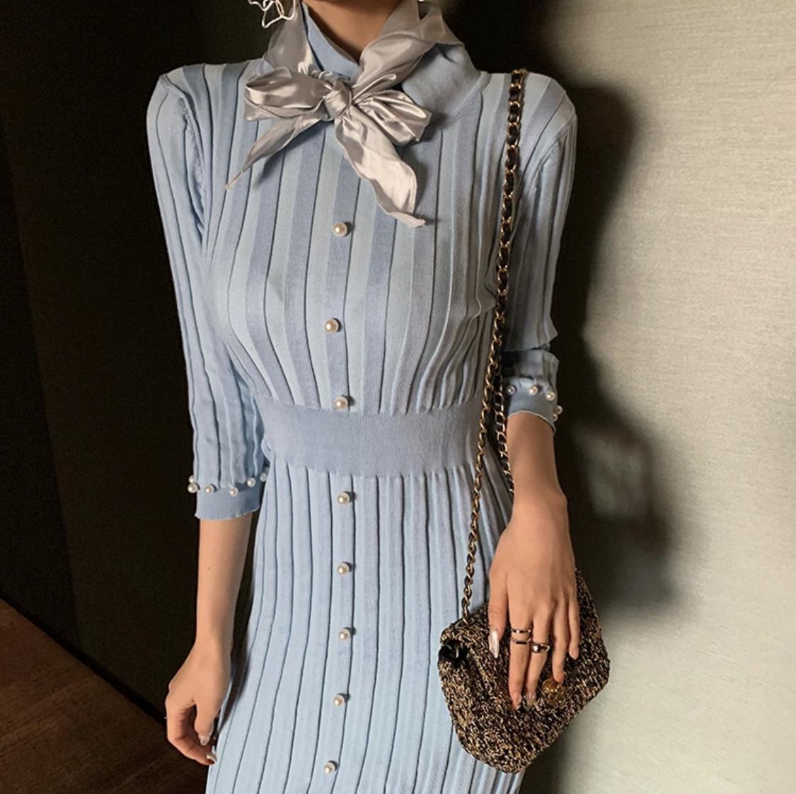 blue pearl long dress