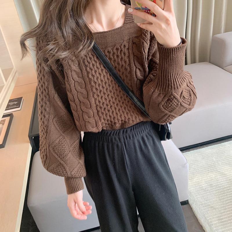 〈カフェシリーズ〉スクエアネックニットセーター【square neck knit sweater】