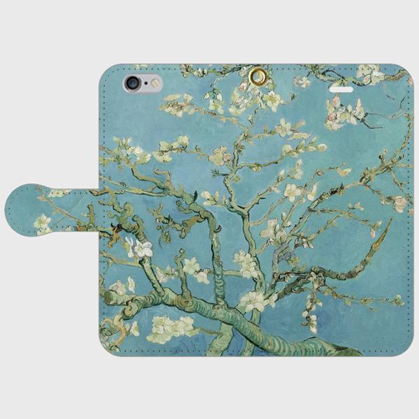 ゴッホ「花咲くアーモンドの木の枝」 手帳型スマホケース