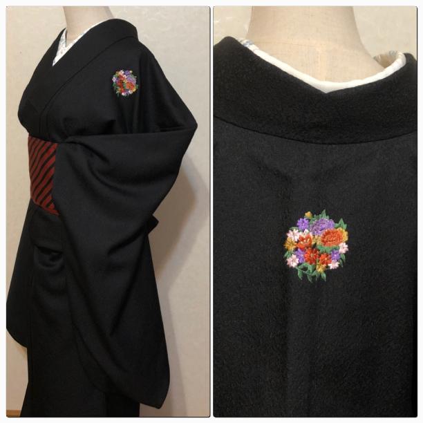★中振袖 刺繍家紋 黒 裄67 袴に トール ★縁ちゃぶ 2602