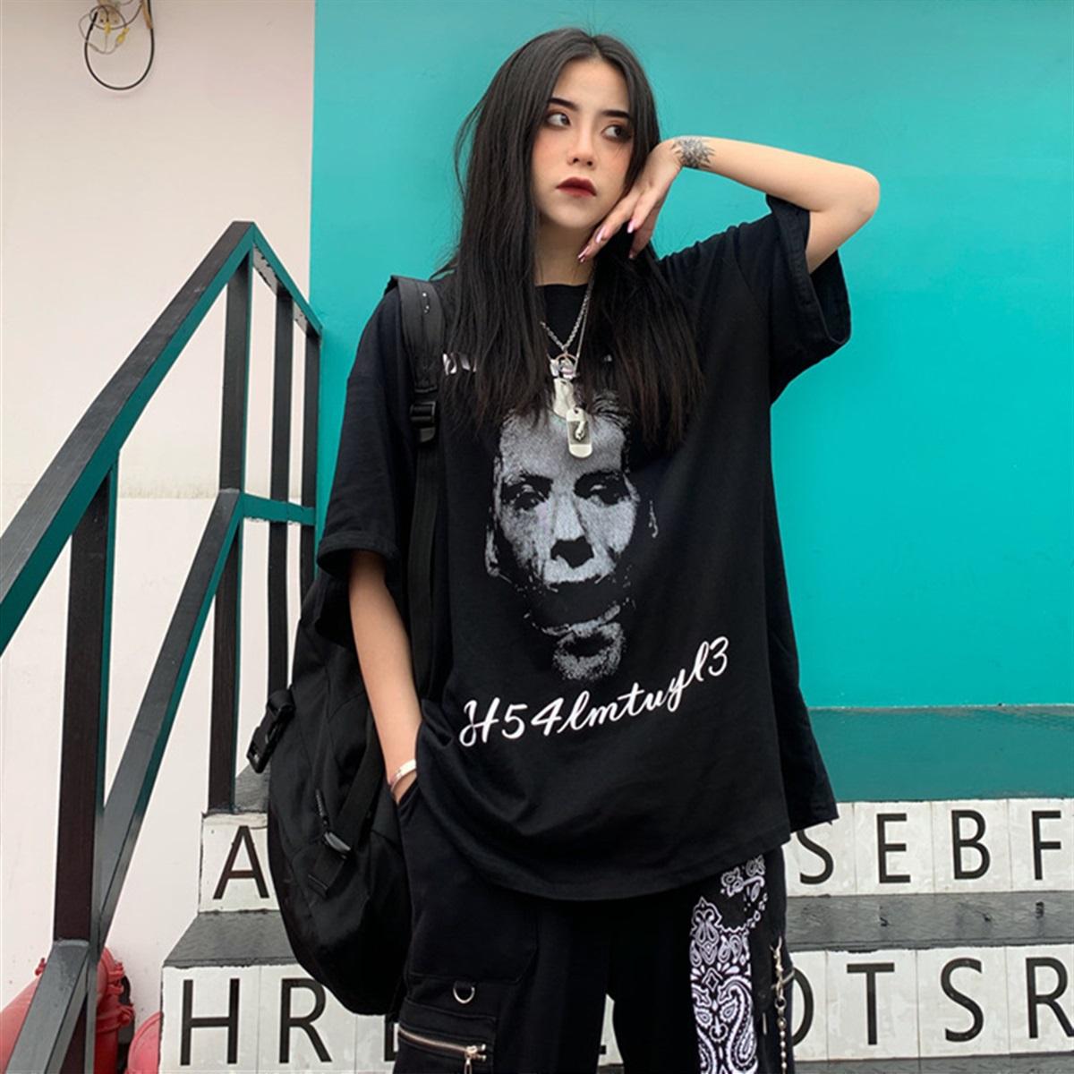 ユニセックス Tシャツ 半袖 メンズ レディース ラウンドネック ダークブラック プリント オーバーサイズ 大きいサイズ ルーズ ストリート