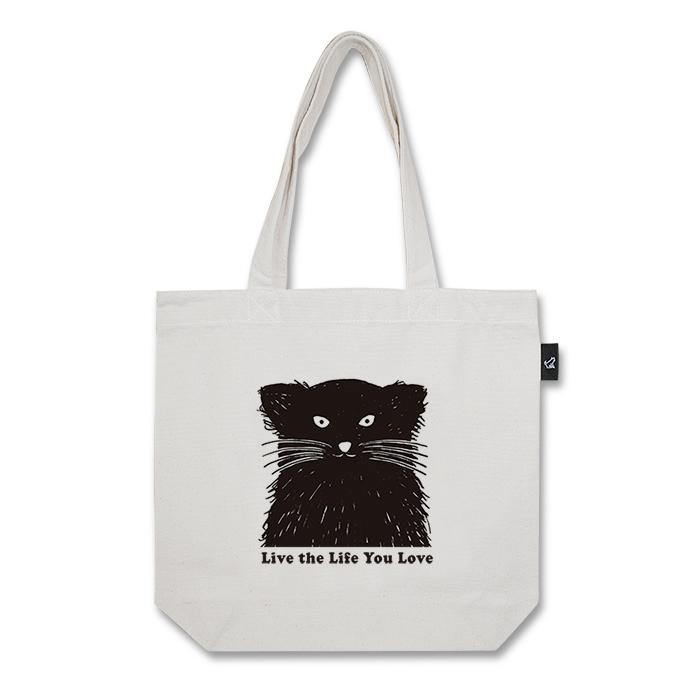 黒ネコ トートバッグ (M:内ポケット付き)品番:yos-m-01