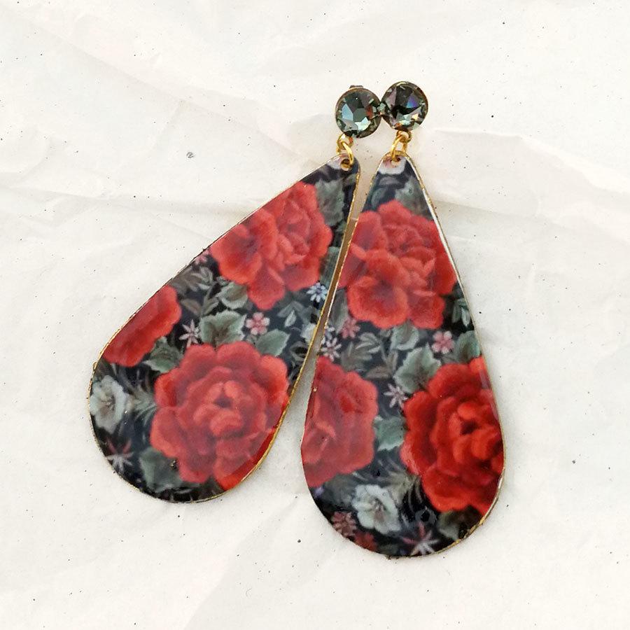 FE-Pd-GtP_PurezaRojo ピアス 雫形P マントン刺繍柄・赤系  スペイン製