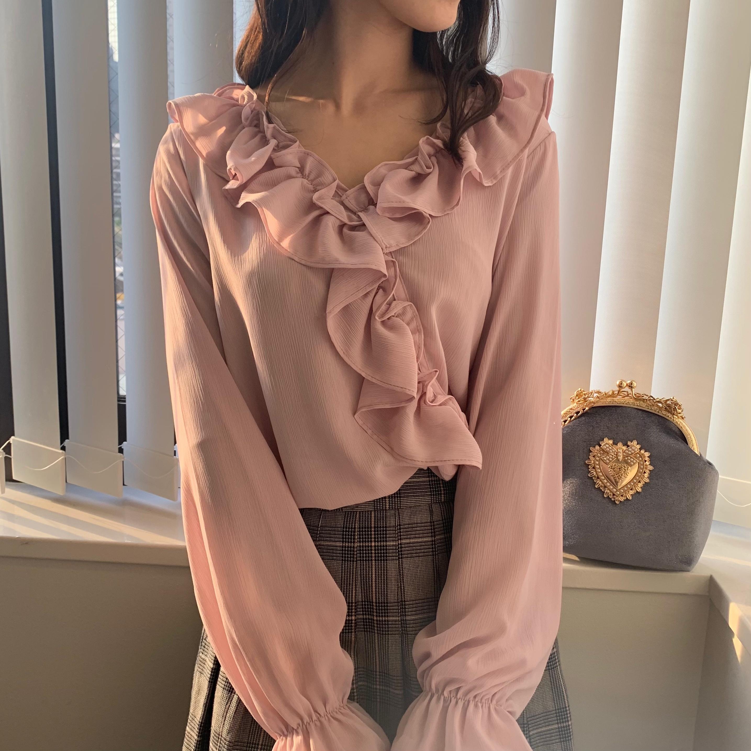 《即納》ピンク♥シフォンシャツ