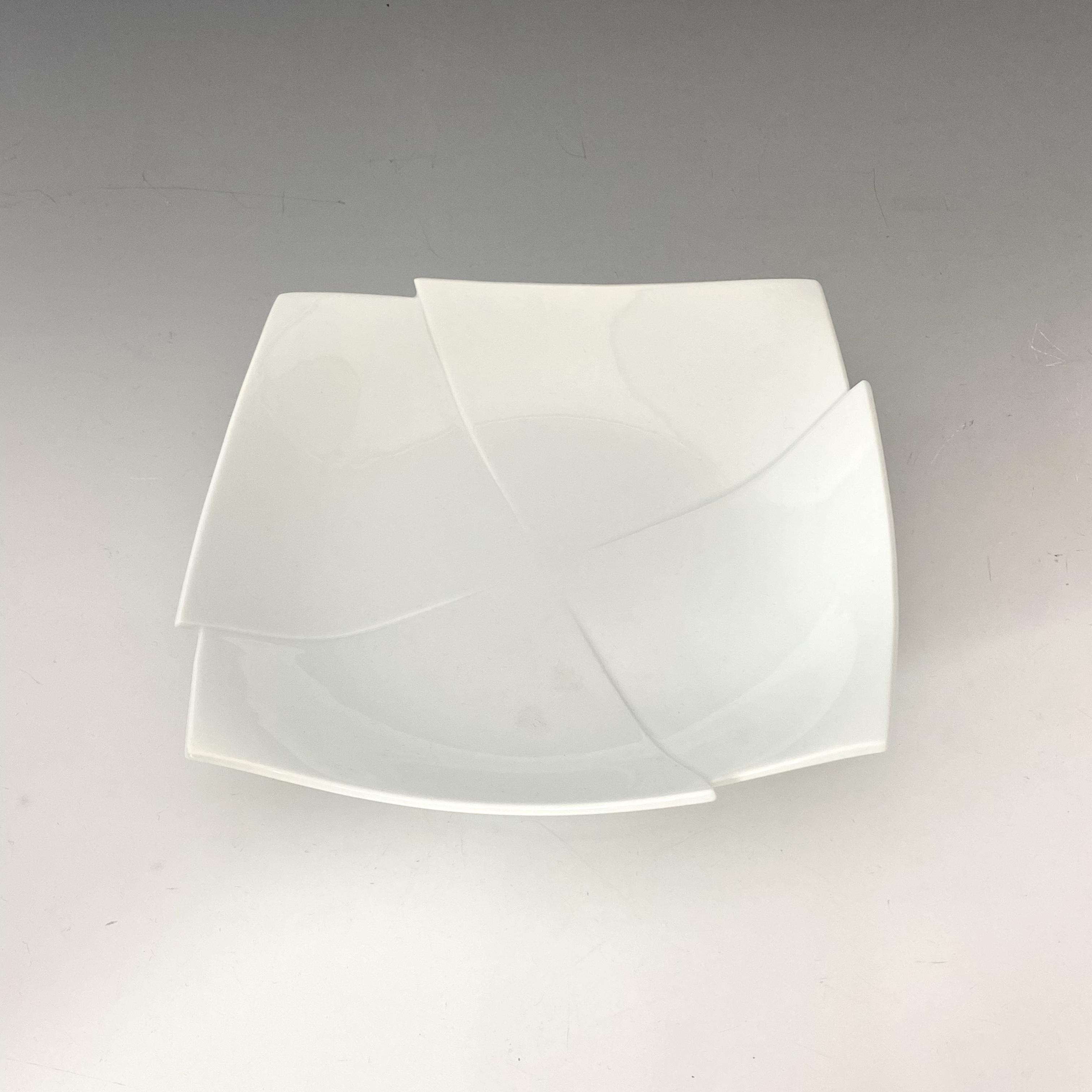 【中尾純】白磁彫角皿(十字)