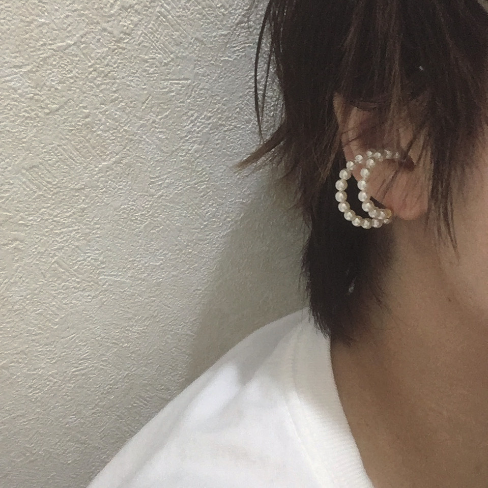 double pearl earctff & ring(2way)