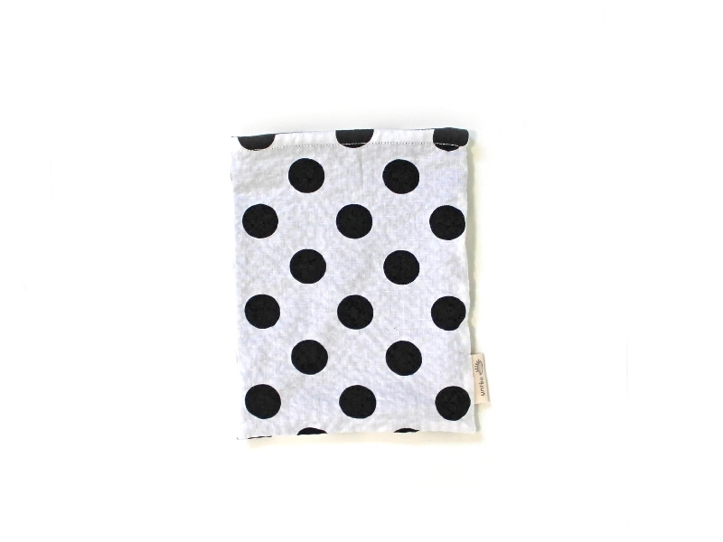 ハリネズミ用寝袋 S(夏用) 綿リップル×スムースニット 水玉 モノトーン
